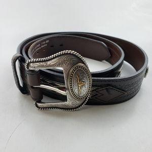 Leather Western Belt Size 44 Brown Mens Vintage